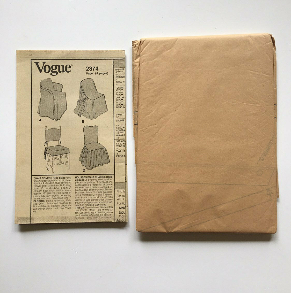 Vintage Vogue 2374 Chair Slip Covers Box Pleats Ruffles Piping Uncut Pattern FF image 3