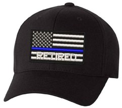 Thin blue Line Retired USA Flag Embroidered Hat - Police Hat LEO Hat Free Ship - $19.79+