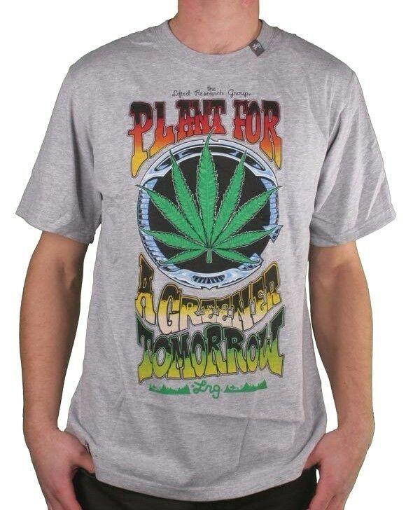 LRG Gris ou Blanc Plante Pour A Greener Demain Weed Marijuana T-Shirt M Nwt
