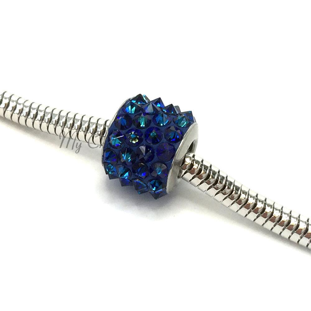 Swarovski European Fit Bracelet Charm Stainless BeCharmed Pave Spikes Crystal image 5