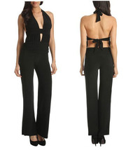 Brand New Solid Black Jumpsuit sexy open back halter ( XS, S, M, L ) - $34.65