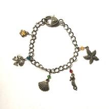 Nautical Charm Bracelet Silver Tone Starfish Fish Seashell Shell Seahors... - £11.14 GBP