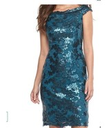 NWT WOMEN Adrianna Papell Deep Blue  Lace and Sequin Dress size 2 $180 - $57.36