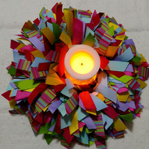 UNITY RAINBOW Wreath with Battery Operated Candle - $30.00