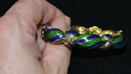 Vintage Tiffany & Co Blue Green Enamel & 18K yellow Gold Hinged Curved Bangle image 3