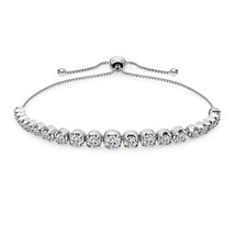 Sterling Silver Cubic Zirconia Round Graduated Adjustable Bolo Bracelet - $95.97