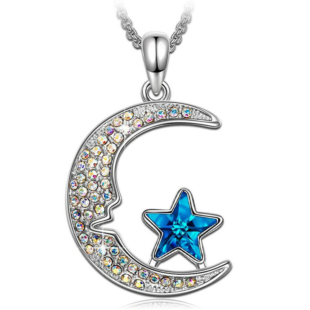 Primary image for ~Islam CRESCENT MOON Wish STAR~ made with Swarovski Crystal Dream Flag Necklace