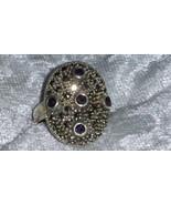 Marcasite Amethyst dome elegant sterling silver ring size 6.5 vintage 80s - $73.00