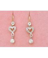 ANTIQUE NOUVEAU .62ctw DIAMOND 2-STONE 18K PLATINUM SMALL DANGLE EARRING... - $1,256.31