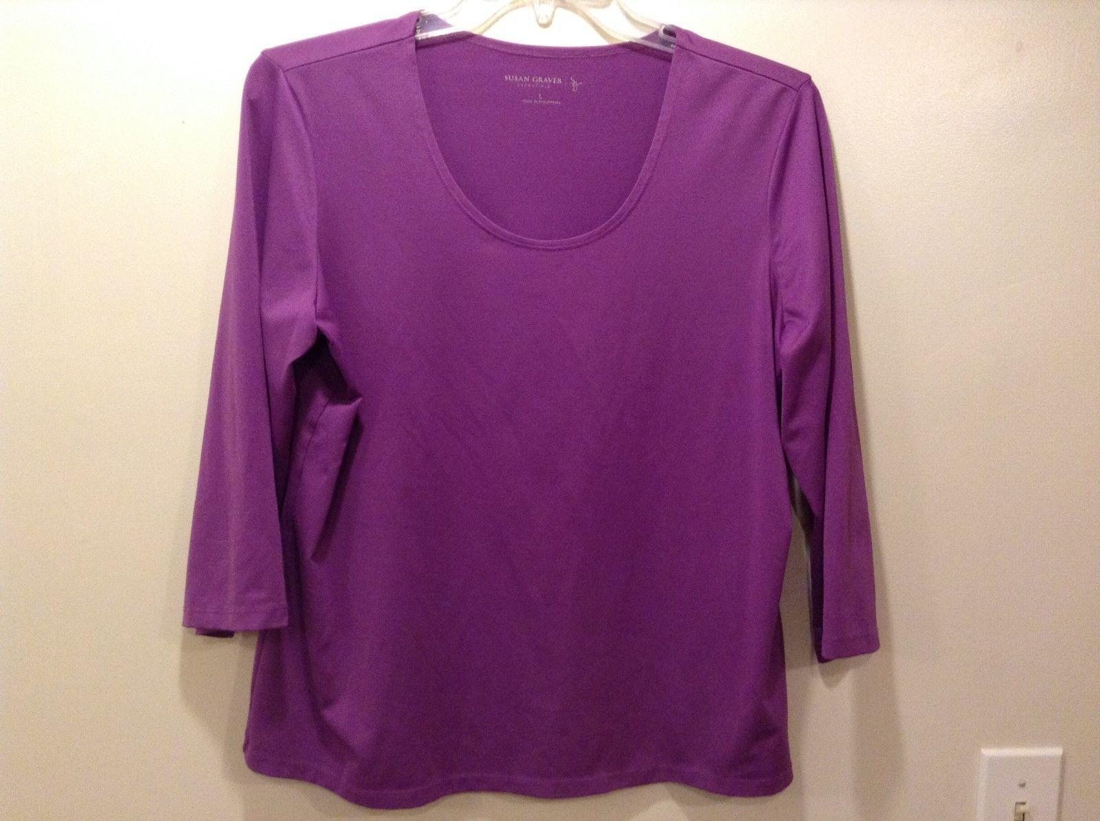 Susan Graver Essentials Scoop Neck 3/4 Sleeve Blouse Sz LG