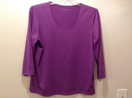 Susan Graver Essentials Scoop Neck 3/4 Sleeve Blouse Sz LG