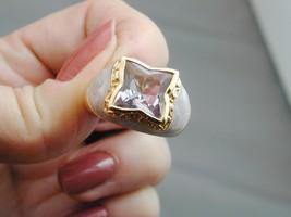 Victoria Wieck 4.8CT Star Cut Pink Amethyst & Enamel Sterling Ring NIB 10 - $114.99