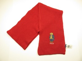Polo Ralph Lauren Knit Winter Red Scarf w/ Embroidered TDR Bear NEW WITH... - $69.25