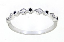 0.08 Carat Blue Sapphire Gemstone 14K White Gold Real Diamond Fancy Band... - $642.00
