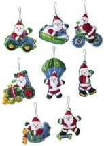 Bucilla Felt Ornaments Applique Kit Set Of 8-Santa On The Go - $26.01