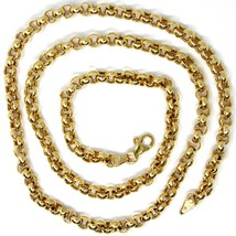 18K YELLOW GOLD CHAIN 19.70 IN, BIG ROUND CIRCLE ROLO LINK, 5 MM MADE IN ITALY image 1