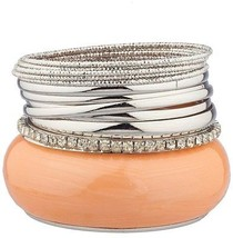 Lux Accessories Peach Large Bangle Mixed Metal Multiple Pave Bangle Set - $12.13