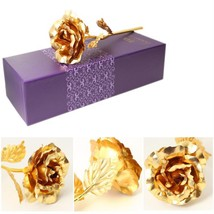 Artificial Flower Rose Foil Gold Plated 24k Valentine Gift Wedding Decor... - £7.59 GBP