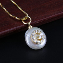 white CZ crystal initial 26 alphabet letter ABC name white coin freshwater pearl - $10.28
