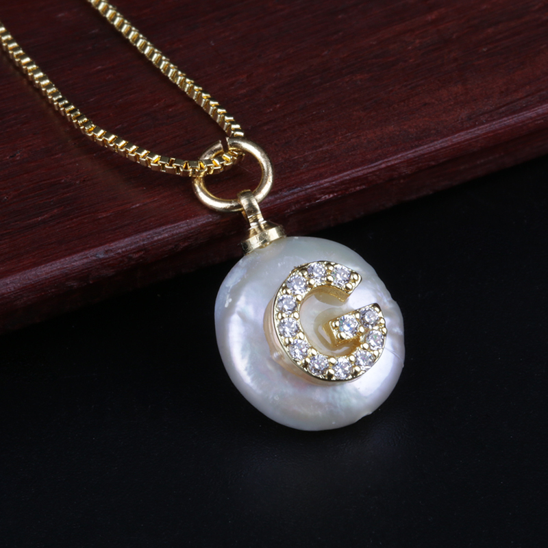 Primary image for white CZ crystal initial 26 alphabet letter ABC name white coin freshwater pearl