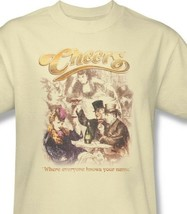Cheers T-shirt Fee Shipping 1980's retro distressed cotton beige tee cbs1228 image 1