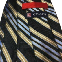 "Mens Tie CHAPS Black Blue Gold Striped Handmade Silk 59"" Length 3.75"" Wi... - $117.99"