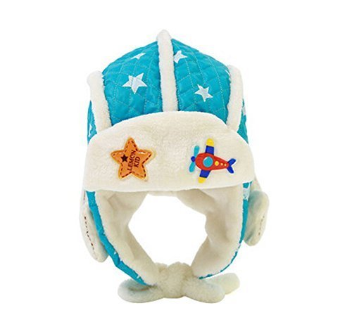Cute Stars Earflap Baby Hats Winter Kids Hats Sky BLUE, 6-48 Months