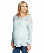 Jessica Simpson Maternity Pastel Blue Scalloped Pointelle Pullover Sweat... - $5.00