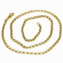 """18K YELLOW GOLD CHAIN 23.60"""", DOME ROUND CIRCLE ROLO LINK 3 MM MADE IN ITALY image 1"""