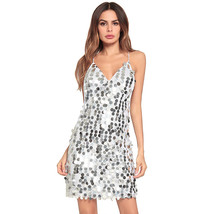 AOVEI White Sexy Sequins Halter Backless Night Out Prom Party Mini Beach Dress - $29.99
