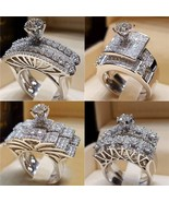 Modyle Brand Female CZ Stone Round Ring Set Fashion White Gold Filled Je... - $10.44