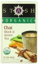 NEW Stash Tea Organic Chai Black & Green Herbal Tea with Cinnamon 18 Tea... - $8.83