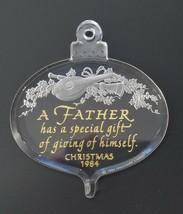 1984 Hallmark Father Dad Christmas Tree Ornament Acrylic Gold Script In ... - $8.95