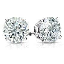 1.05 Ct Created Round Cut Stud Earrings Screw back Pierced 14K White Gol... - $50.48