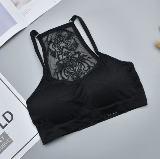 Black Tube Top Delicate Tattoo Bralette Removable Pad Floral Racerback Bra