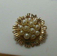 Vintage Crown Trifari Gold Tone Pearl Cluster Brooch - $54.45