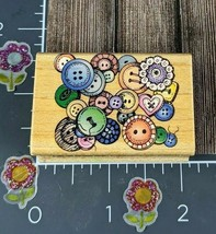 Hero Arts Button Cluster Rubber Stamp C1158 Arts Crafts Sewing Wood 1997 #F153 - $2.72