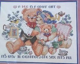 Stamped Cross Stitch Linda Gillum 40905 Bucilla Teddy Bears Hugs - $12.86