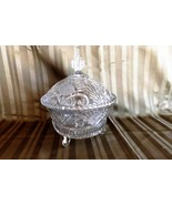 Glass Footed Candy Dish with Cover Vintage Etched Crystal - $21.99