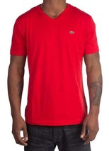 Lacoste Men's Premium Pima Cotton V-Neck Shirt T-Shirt Red Cerise Size XL