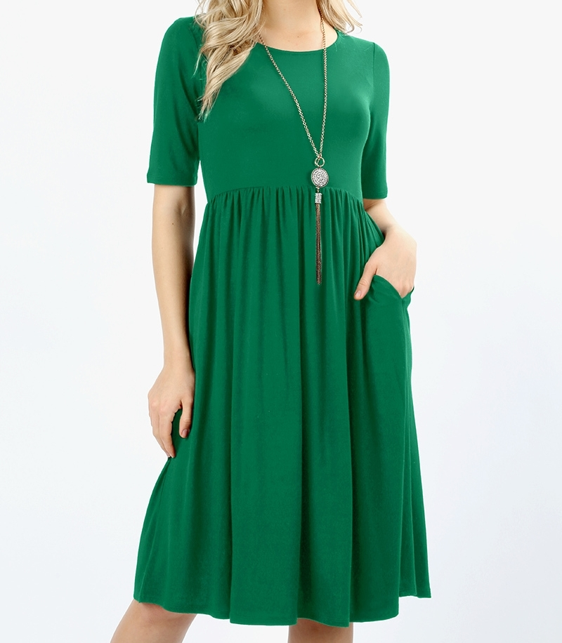 Green Midi Dress, Midi Fit and Flare Dress, Dress with Pockets, Womens Size L