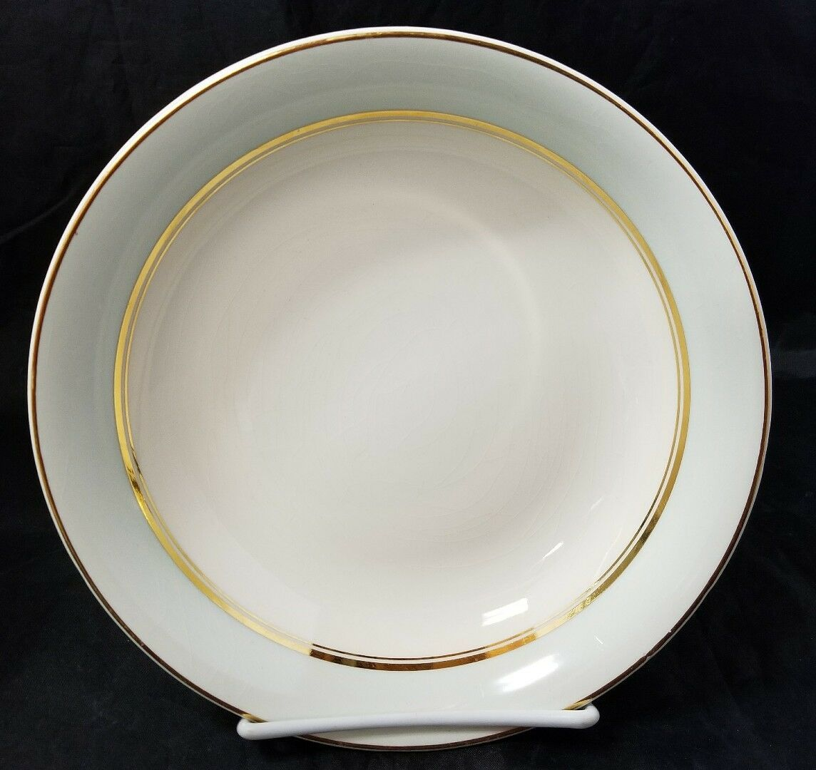 The French Saxon China Co Soup Salad Bowls Set of 4, 22kt Gold, Pottery Made USA image 2