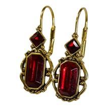 Vintage Berebi Dangle Earrings Red Faceted Crystal Rhinestones Leverback... - $34.99