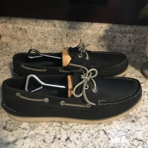 Primary image for SPERRY Top Sider CHARCOAL/DK NAVY leather Boat Shoes Memory Foam Mens SIZE US 12
