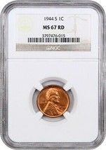 1944-S 1c NGC MS67 RD - Lincoln Cent - $97.00