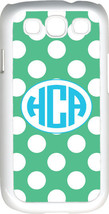 Circle Monogram Teal Green and White Polka Dot Samsung Galaxy S3 Case Cover - $15.95