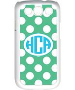 Circle Monogram Teal Green and White Polka Dot Samsung Galaxy S3 Case Cover - $15.95