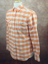 Polo Ralph Lauren Western Pearl Snap Long Sleeve Shirt Orange White Men'... - $44.50