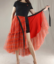 Women High Waist Wrap Tulle Skirts Red Plaid Wrap Skirt Tulle Party Formal Skirt image 5