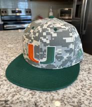 Miami Hurricanes NCAA Adidas New Baseball Hat Camouflage Size 6 5/8 Fitt... - $29.70